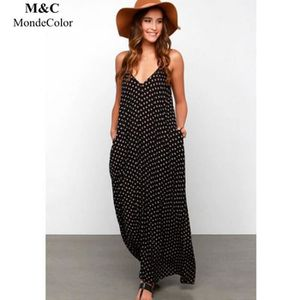 ROBE DE PLAGE Hot Sale Robe Longue Femme Polka Dot Imprimé Spagh