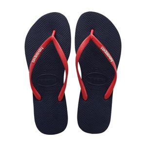 TONG Havaianas Slim Logo Pop Up Tongs Bleu Marine Rouge