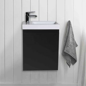 LAVE-MAIN Meuble Lave-mains Noir Carbone L41 x H53 LISA