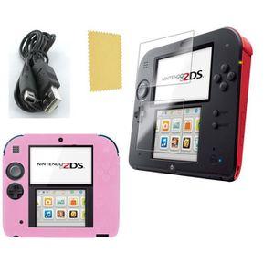 PACK ACCESSOIRE Pack 3 en 1 Nintendo 2DS : Housse silicone rose -