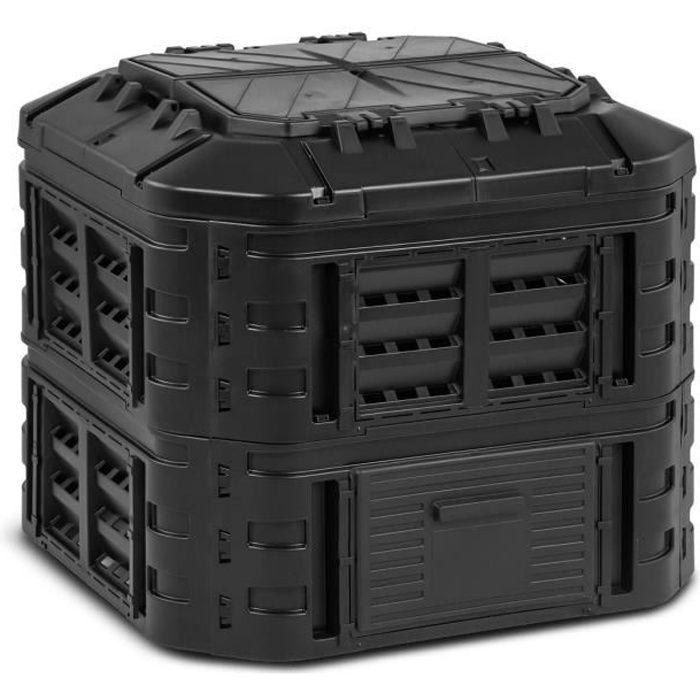Composteur De Jardin Modulaire Bac De Compostage Rapide D'Extérieur Noir 600 L