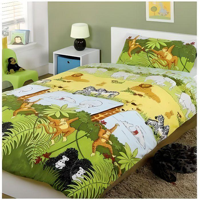 Parure de lit Jungle safari Housse de couette 140 cm x 200 cm et taie