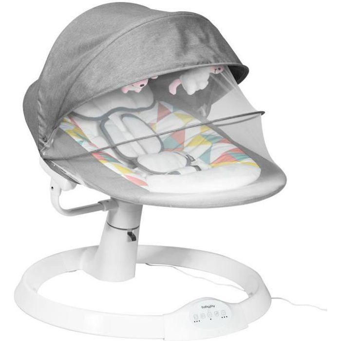 COSTWAY Transat Balancelle Electrique pour Bébé à 9KG avec Télécommande,5 Amplitudes de Vibration,Minuterie,10 Musique Bluetooth/USB