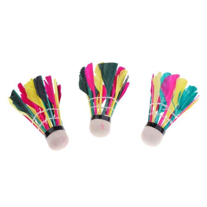 3 Pièces Plume Badminton Volants Boules Sport Training Game Multicolor