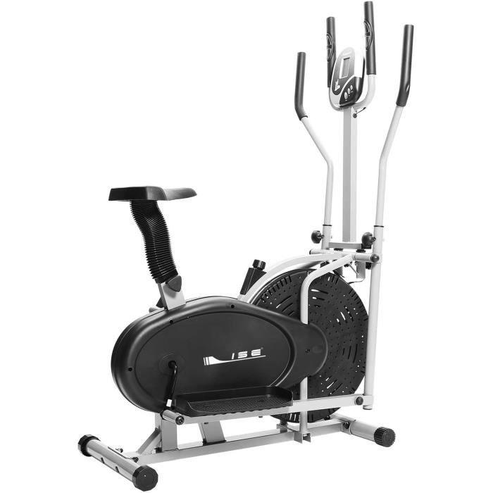 ISE Vélo Elliptique et Vélo d'Appartement 2 en 1,Cross Trainer avec Siège, Cardio Training avec Pulsomètre & Écran LCD, Max. 120KG,