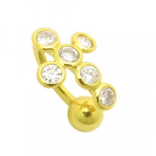 Bijou Piercing de Nombril Inversé Croix En Or 14 carats et Pierres Précieuses Zircons Cubiques CZ