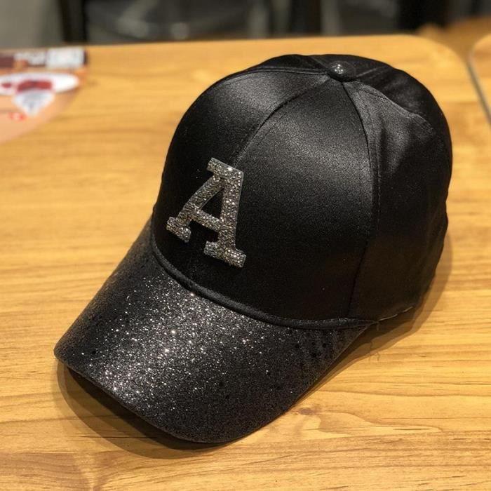 Casquette de baseball pour hommes et femmes, chapeau à paillettes, en coton brodé, style hip hop [2E9C0DF]