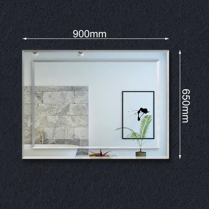Miroir mural rectangulaire 65x=0cm, installation verticale et horizontale, miroir de maquillage, deux miroirs de designer ensemble