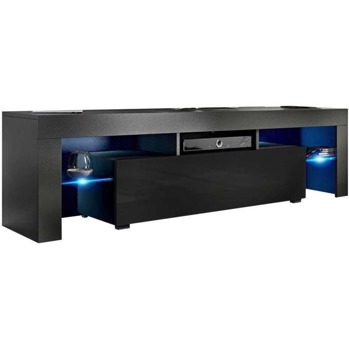 Meuble tv 160 cm noir mat / noir brillant + led rgb
