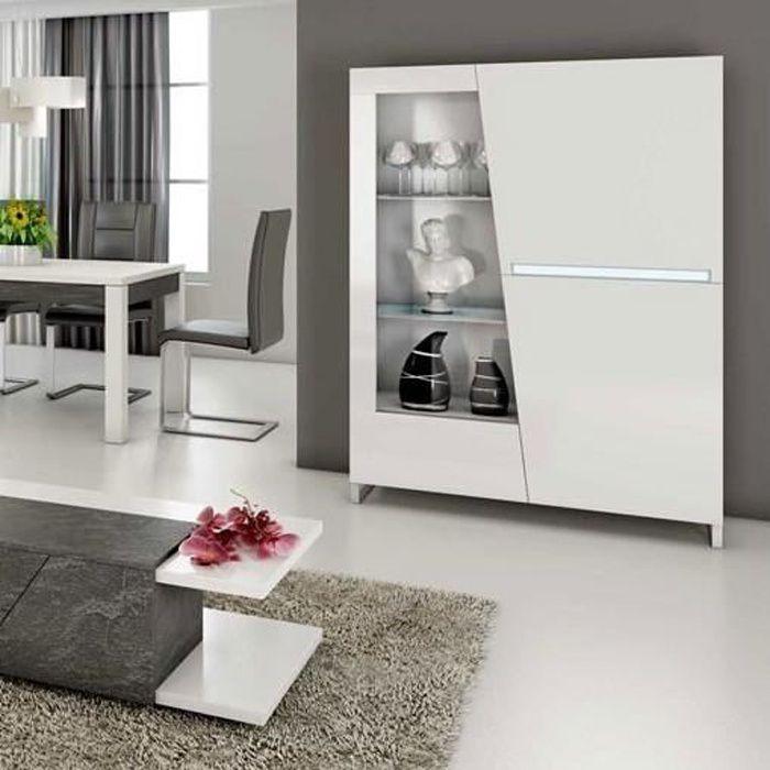 Argentier Vaisselier design laqué blanc led 120x155 cm LAUREA Blanc