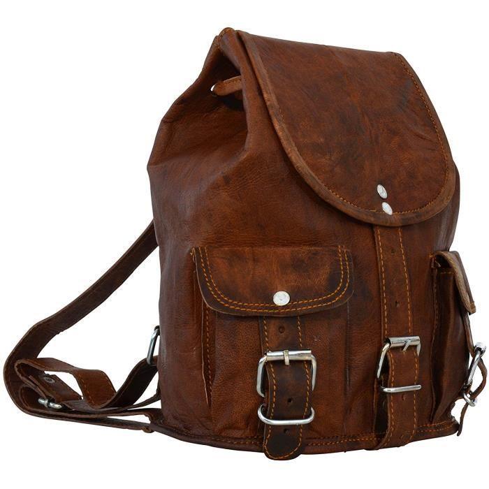 Sac à dos - Gusti Cuir nature -Lena- sac à dos vintage sac porté épaule bacpack rétro sac de voyage homme femme cuir de chèvre