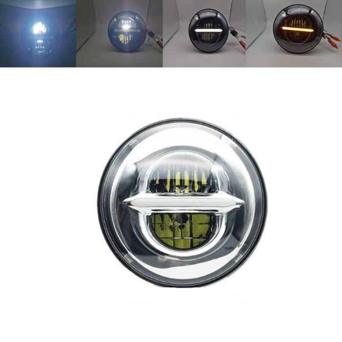 Phare de Moto LED 5.75 pouces, feu Halo blanc DRL, yeux d'ange pour Dyna Sportster Softail 5 phare led pouc 50W chrome A -WM1426