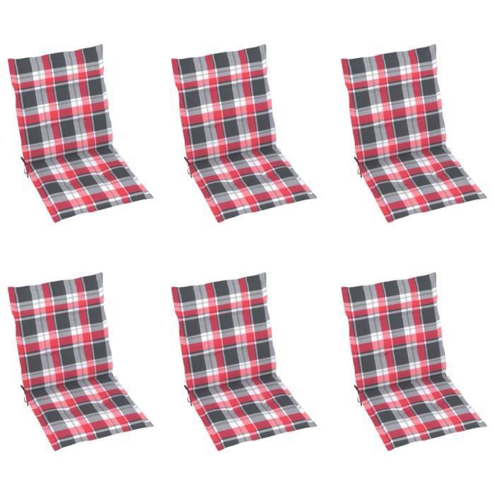 96638-Vintage Galette de chaise - Lot de 6 Coussins de chaise de jardin Luxueux - Coussin D'extérieur Carreaux rouges 100x50x4 cm