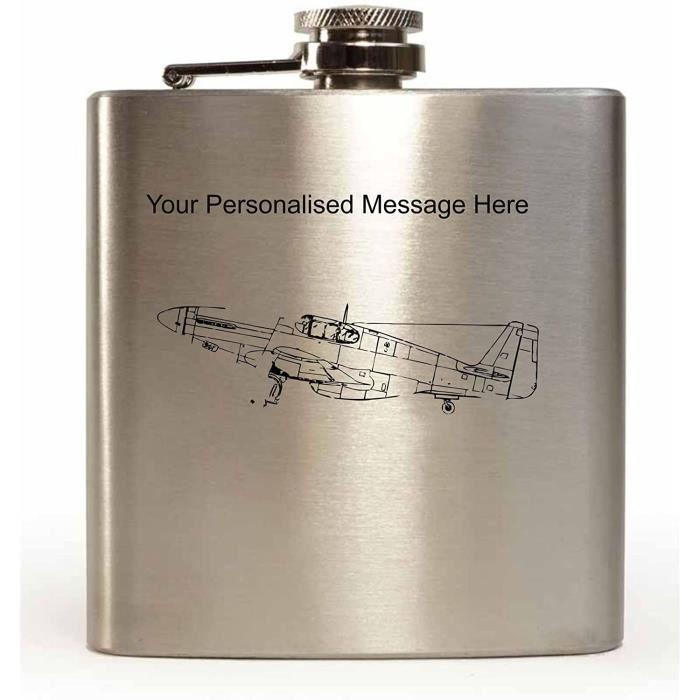 Céramique Gravé 170ml Flasque en Acier Inoxydable Avec MUSTANG Fighter Design Et Votre Personnalisé Message