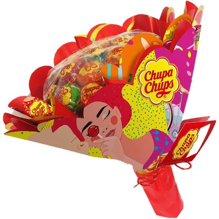 Chupa Chups - Bouquet de Sucettes Composé de 19 Sucettes - Parfum Fraise Orange Pomme Cerise Pastèque Citron - Cadeau Original