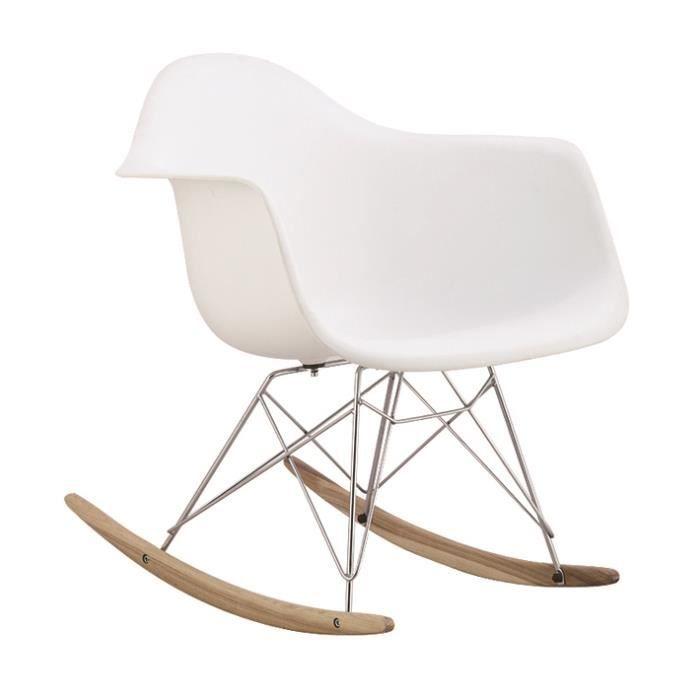 1 x Fauteuil à Bascule Rocking Chair Design Inspiration Eiffel Eames RAR Pieds Bois Clair Assise Blanc Mobistyl®