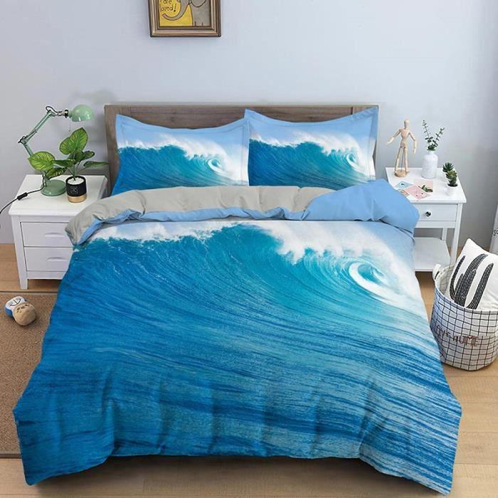 Housse De Couette Mer Bleue Parure de lit avec Fermeture éclair pour Adulte et Adolescents, Microfibre Douce Literie140*200cm[2491]
