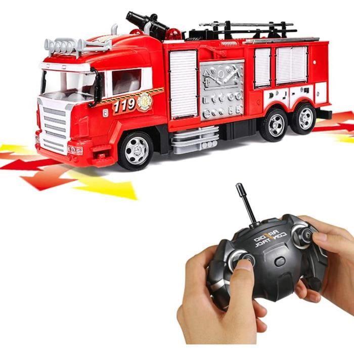 VEHICULE Generp RC Rescue Fire Engine Toy Truck - Camion de pompier radiocommandé RC avec pompe à eau de travail tire