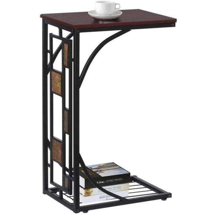 Table d'appoint à Café Snack Bout de Canapé 21 x 30,5 x 53 cm Table Basse Vintage Petite Desserte pour Salon Jardin Terrasse 460