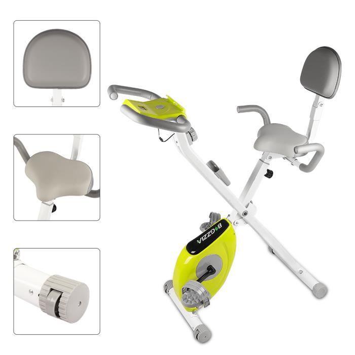 YEEZEE Vélo d'Appartement Pliable,écran LCD suspensions support tablette,avec 8 niveaux de résistance,Blanc et vert
