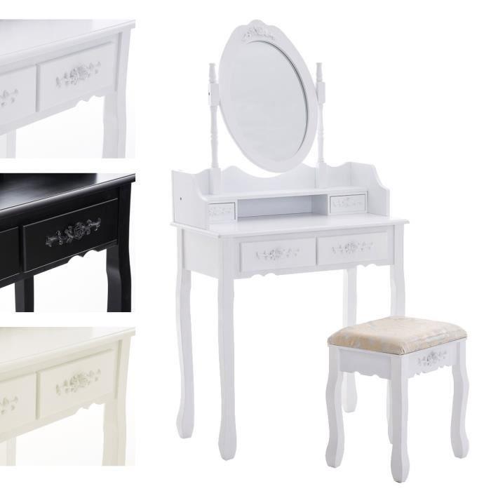 CLP Coiffeuse table de maquillage FUCHSIA avec miroir et tabouret rembourré, style colonial, en. 75x40 cm