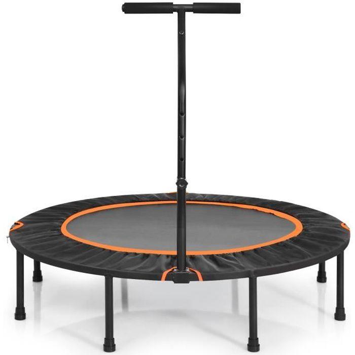 COSTWAY Trampoline de Fitness Pliable Φ120CM avec Poignée Forme T Hauteur Ajustable Patins Antidérapants Limite 200 KG pour Enfants