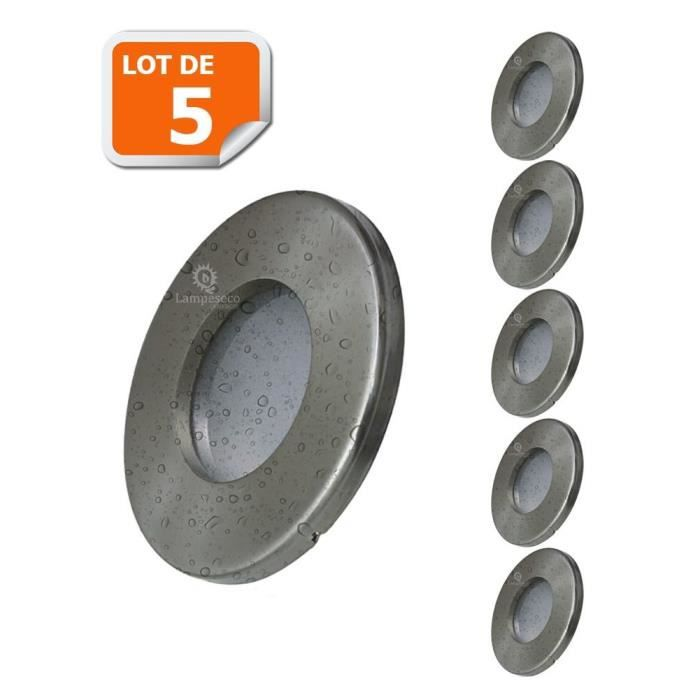 5X Spots LED Encastrables Alu Brossé Etanche IP44 Pour Salle de Bain Blanc Neutre