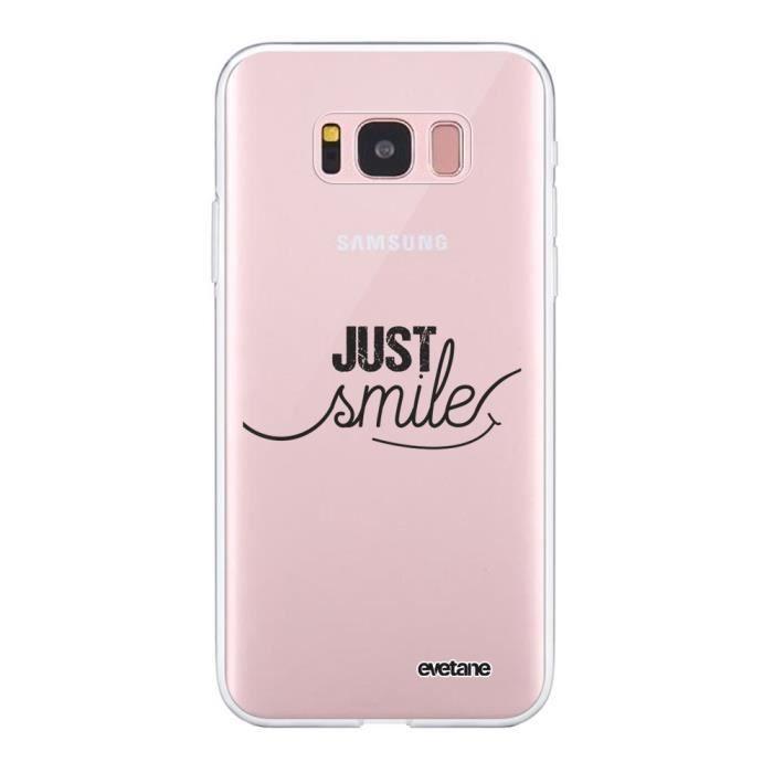 Coque Samsung Galaxy S8 360 intégrale transparente Just Smile Ecriture Tendance Design Evetane