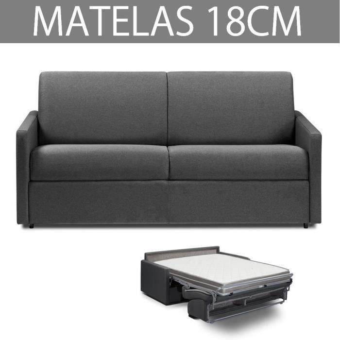 Canapé convertible EXPRESS 3 places en tissu tweed gris graphite - Couchage 140cm - Epaisseur matelas 18cm - ECLIPSE