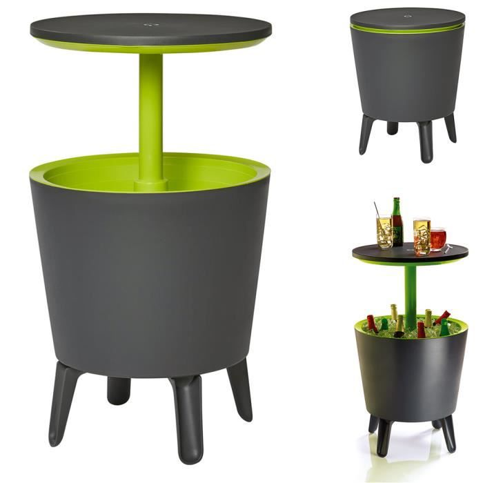 Table de jardin -Cool Bar- 30L bac glaçons boissons fraîches table cocktail d'appoint réglable en hauteur table bar glacière fêtes
