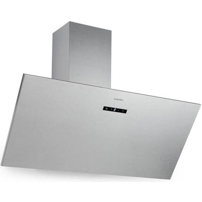 Klarstein Silver Lining 90 - Hotte aspirante : tête libre 90 cm, 3 vitesses, 568m³-h max, classe A - Inox