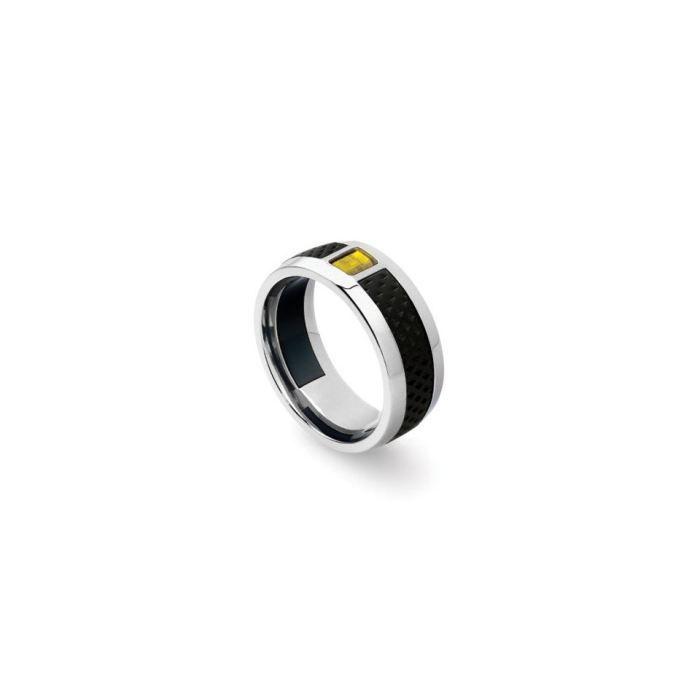 Bijou : Bague design pour homme Tonino Lamborghini en acier, carbone et émail jaune, 05344