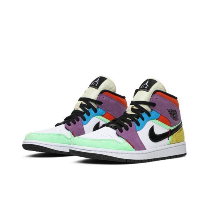Air Jordan 1 Mid SE -Multicolor- Chaussures de Sport Basket AJ 1 Pas Cher pour Homme Femme Multicolore