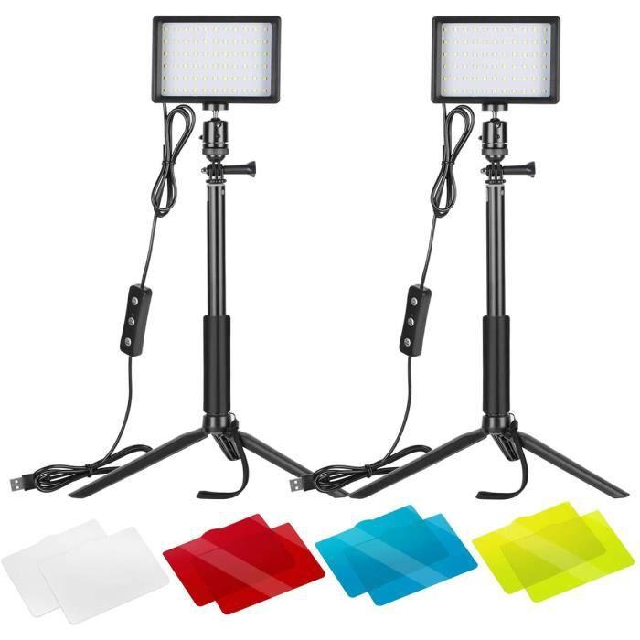 NEEWER Studio photo et éclairage Neewer LED Panneau USB Lumière Vidéo 5600K Réglable Lot de 2 Lampe LED avec Trépied et Filtre