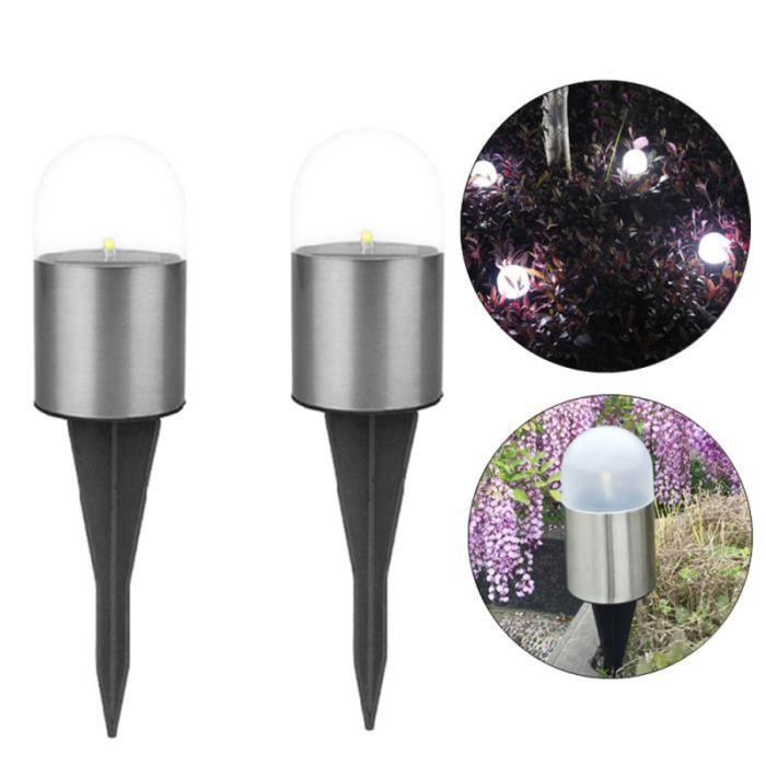 2PCS LED Lumière Blanche En Acier Inoxydable Solaire Rétro Cour Villa Jardin Lampadaire Extérieur ) GUIRLANDE DE NOEL