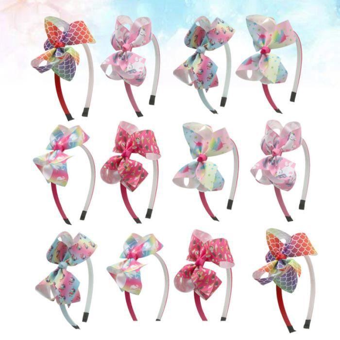 12 pcs licorne cerceau arc-noeud bande de tissu bandeau adorable accessoire de pour enfants filles (1 CASQUE AUDIO ENFANT