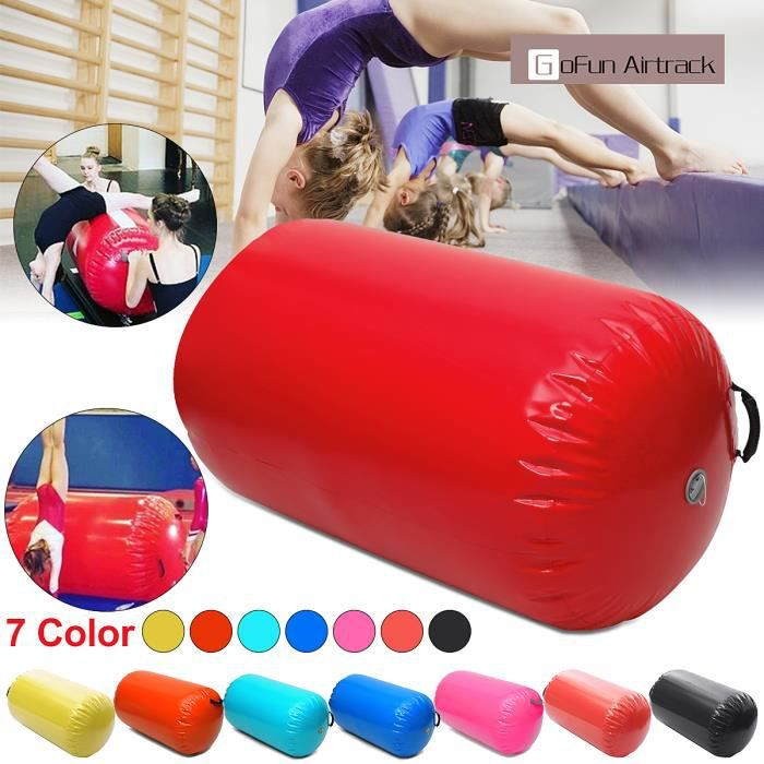 TEMPSA 100CM*65CM Gonflable Air Rouleau Home Training Gymnastique Pr Fitness Sport GYM ROUGE