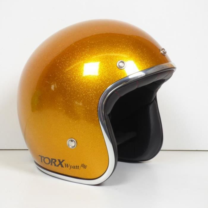 Casque bol jet Torx Wyatt jaune brillant Taille XL moto scooter cyclo mob custom