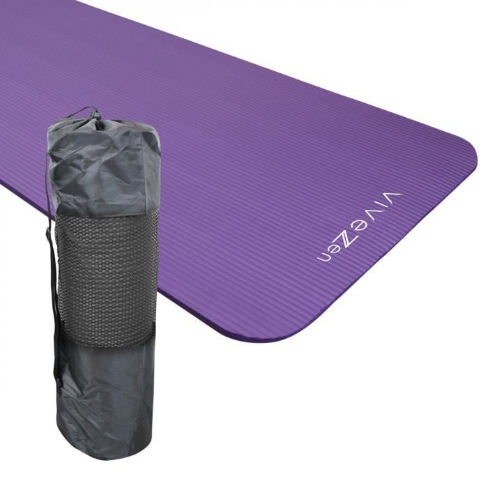 Tapis de yoga, de gym, d'exercices 180 x 60 x 1,2 cm + sac de transport - Violet