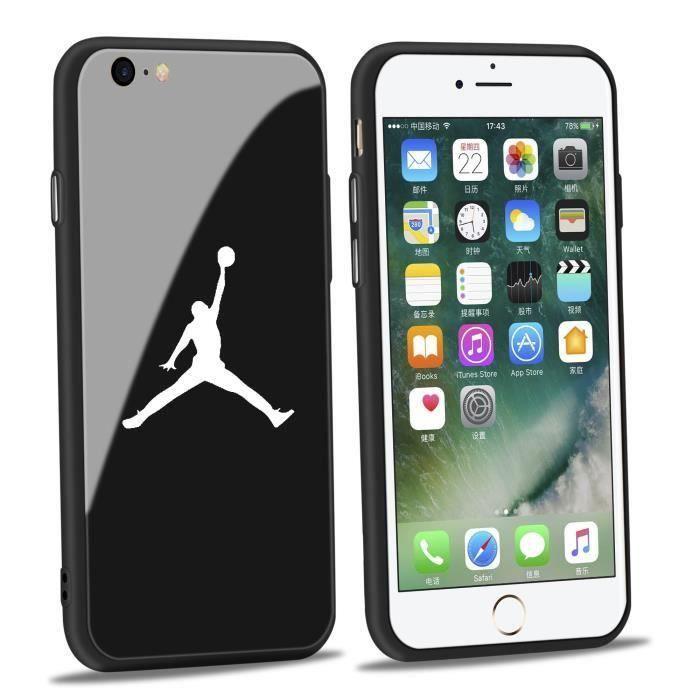 jordan coque iphone 8 8s verre coque noir