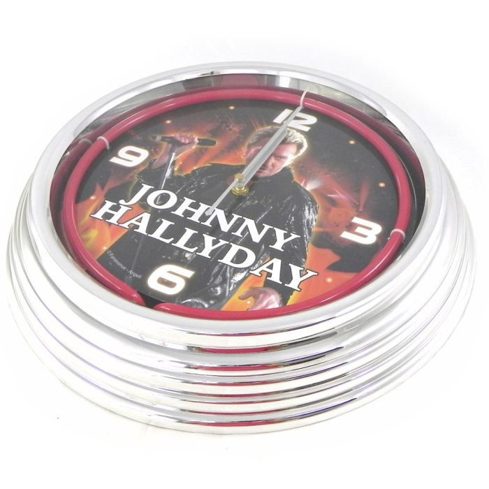 Horloge murale n on johnny halliday rouge achat for Decoration murale neon