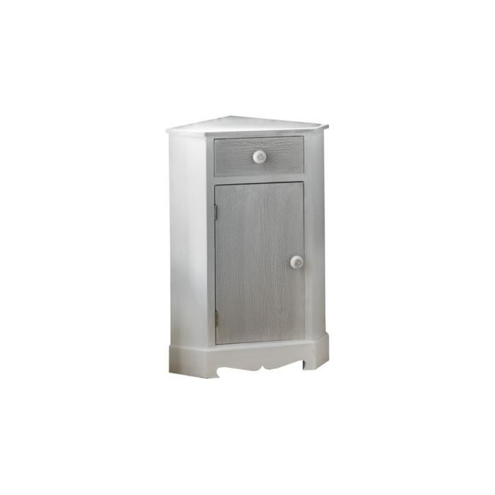 meuble de rangement d 39 angle pin massif blanc 1 porte grise. Black Bedroom Furniture Sets. Home Design Ideas