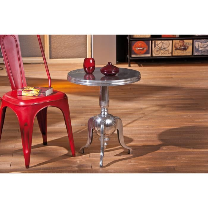 Petit table d 39 appoint rond en m tal design moderne achat for Table d appoint moderne