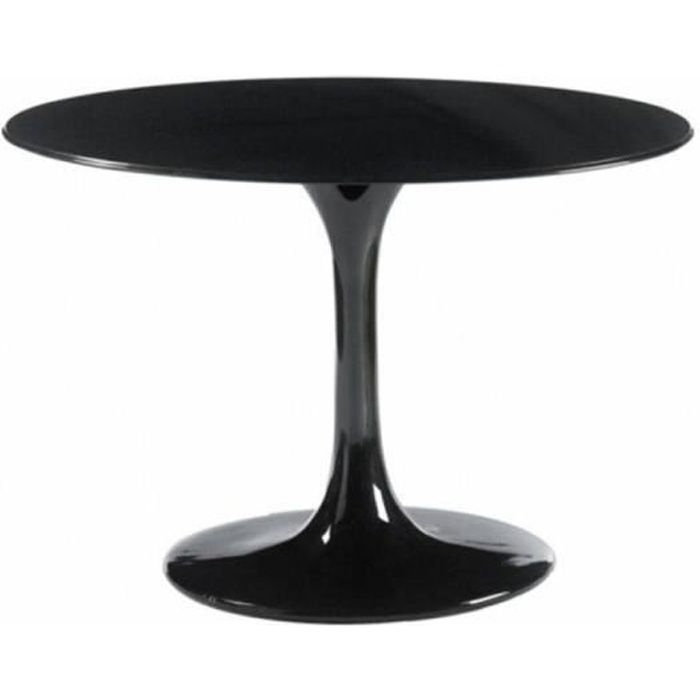 Table ronde de repas design tulipe laque noir 120c achat for Table ronde design 6 personnes