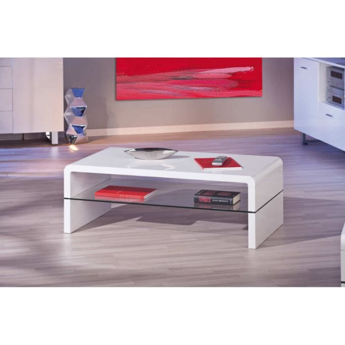 Table basse blanc brillant achat vente table basse - Table basse laque blanc brillant ...