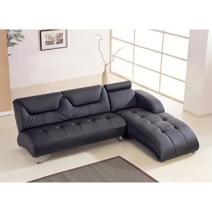canap d 39 angle en cuir italien 5 places lugano noir angle droit achat vente canap sofa. Black Bedroom Furniture Sets. Home Design Ideas