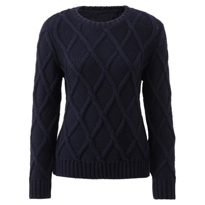 Original montgomery pull over carreaux femme bleu marine for Pull a carreaux