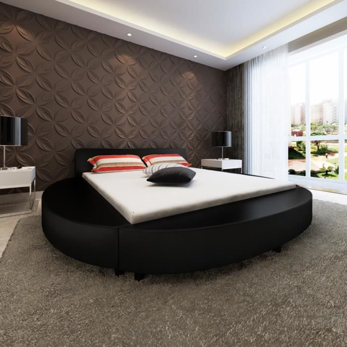 lit rond en simili cuir 180x200cm noir avec matela achat vente lit complet lit rond en. Black Bedroom Furniture Sets. Home Design Ideas