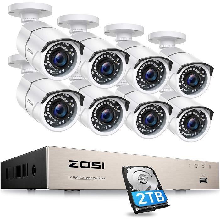 CAMÉRA DE SURVEILLANCE ZOSI 8CH H.265+ 5MP PoE 2TB Kit NVR & Caméra Surve