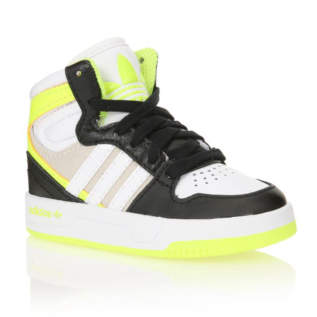 adidas baskets court attitude b b gar on noir blanc gris jaune fluo achat vente. Black Bedroom Furniture Sets. Home Design Ideas